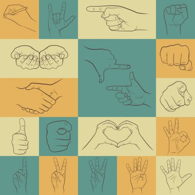 Hand icons in different interpretations.