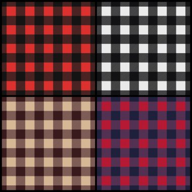Set of lumberjack plaid seamless patterns