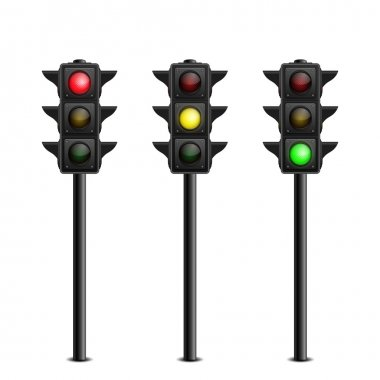 Three-dimensional full length traffic lights on white background