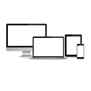 Modern monitor, computer, laptop, phone, tablet on a white background