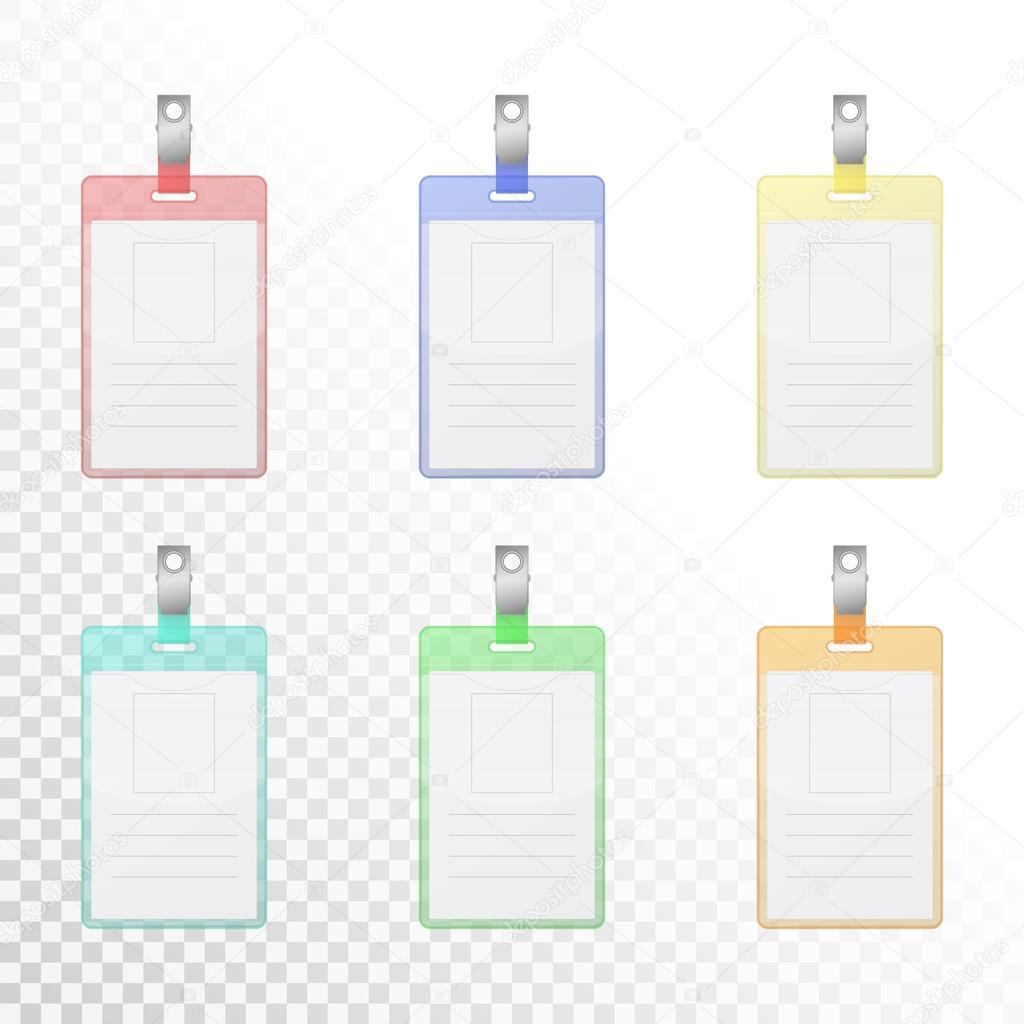 Conjunto de tarjetas de identificación verticales colores ...