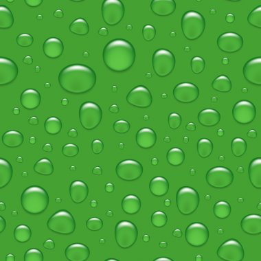 Vector seamless background - water drops on green