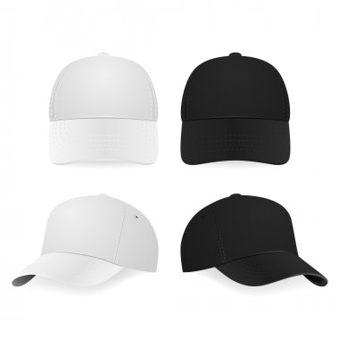 Two realistic white and black baseball caps