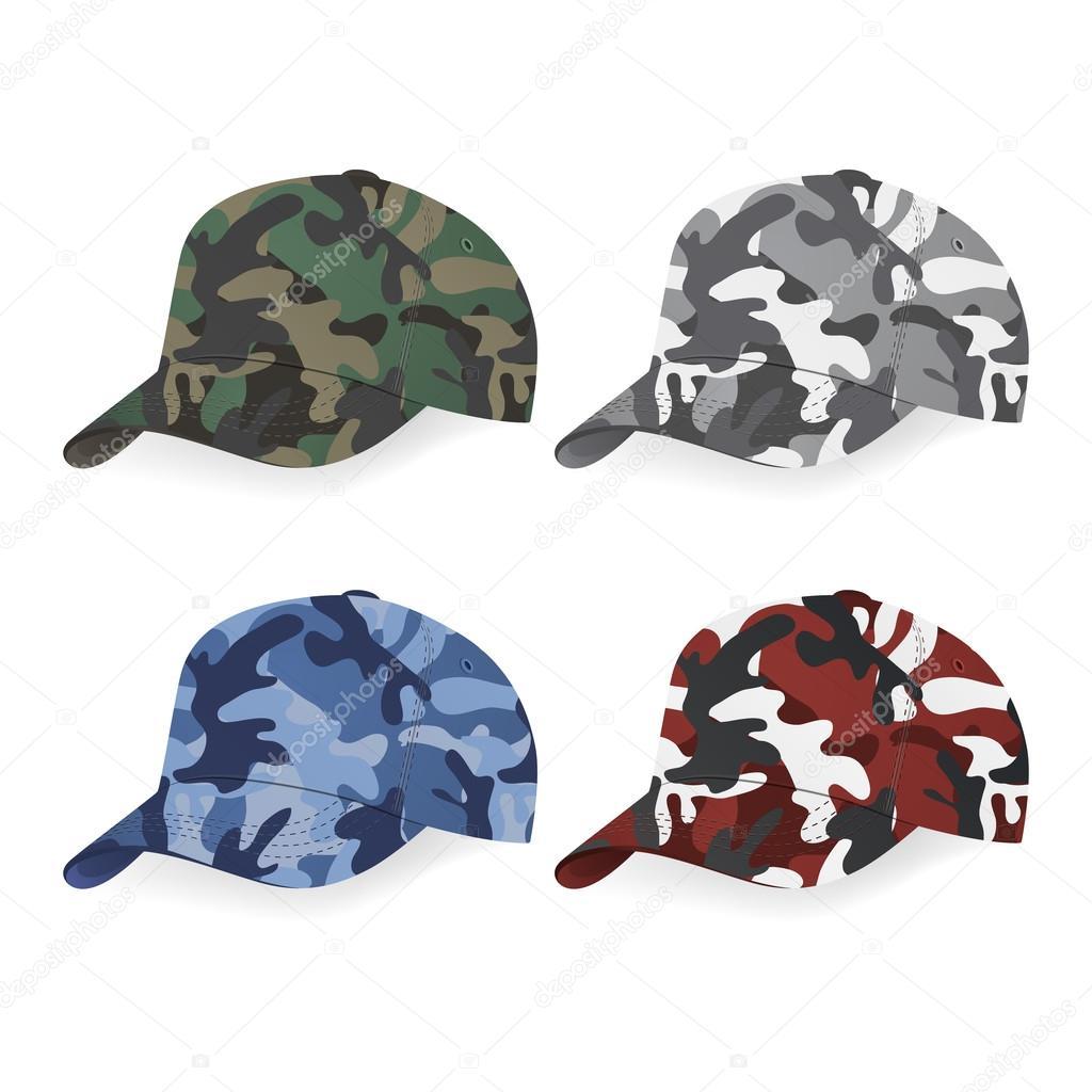 Set de gorras militares con patrón de camuflaje — Vector de stock ... df901e6f79a