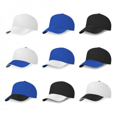 Two-color baseball caps with white, blue and black colors.