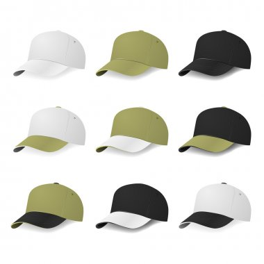 Set of two-color baseball caps with white, khaki and black colors.