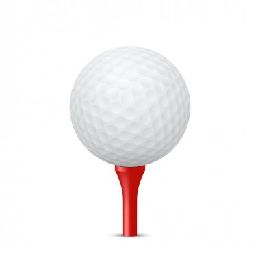 Golf ball on a red tee. Vector illustration.
