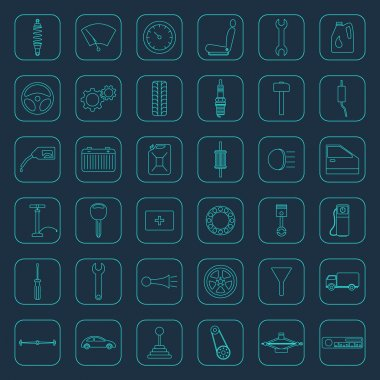 Vector car parts icons