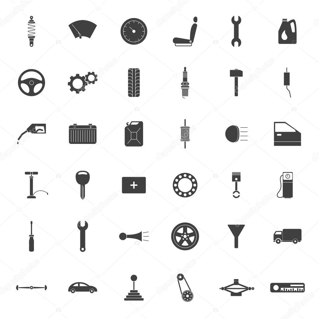 Simple car parts icons — Stock Vector © Gomolach #70018711