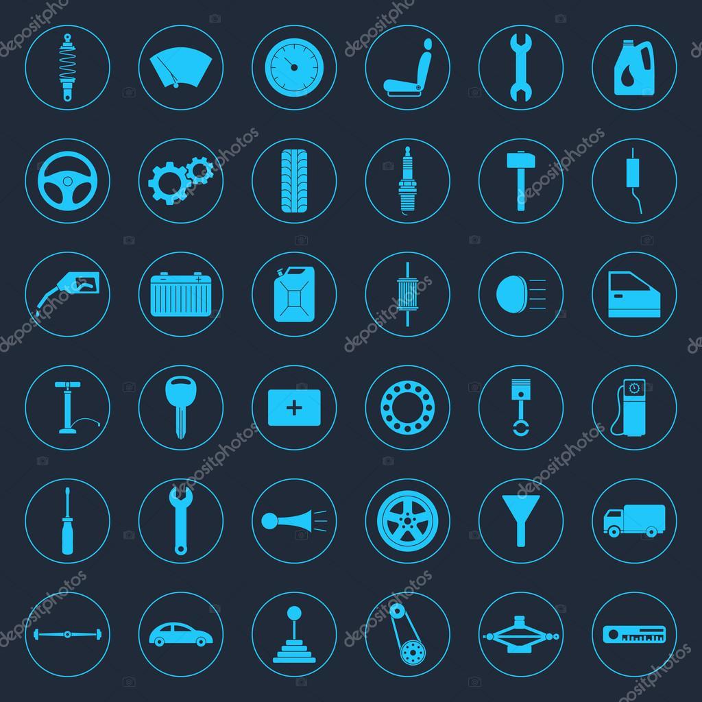 Auto Onderdelen Icons Set Stockvector C Gomolach 70075123