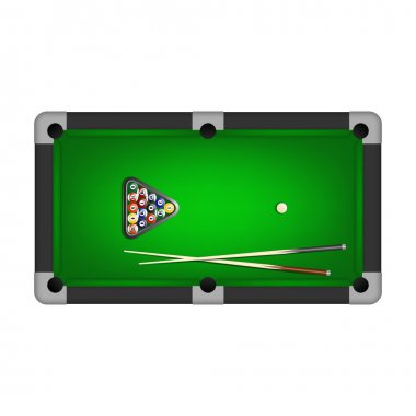 Billiards balls, triangle and two cues on a pool table