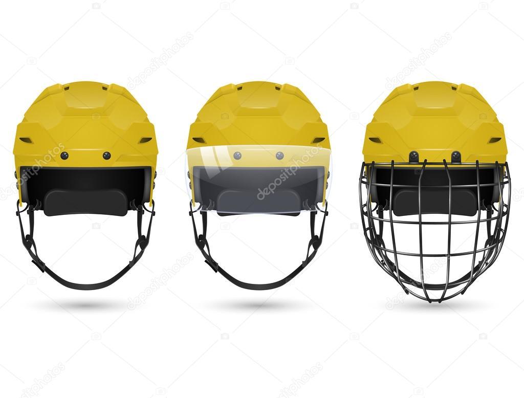 Gelber Hockeyhelm In Drei Varianten Stockvektor Gomolach