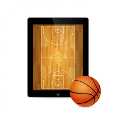 Black tablet with basketball ball and court on the screen.