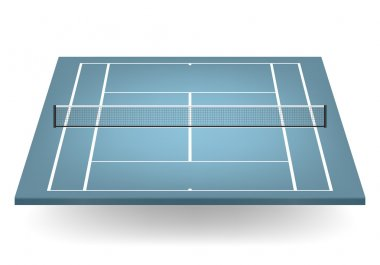 Vector blue tennis court with netting