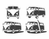 Photo Retro Travel buses set. Design elements.
