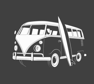Icon of retro travel bus with surfboard. Side view.