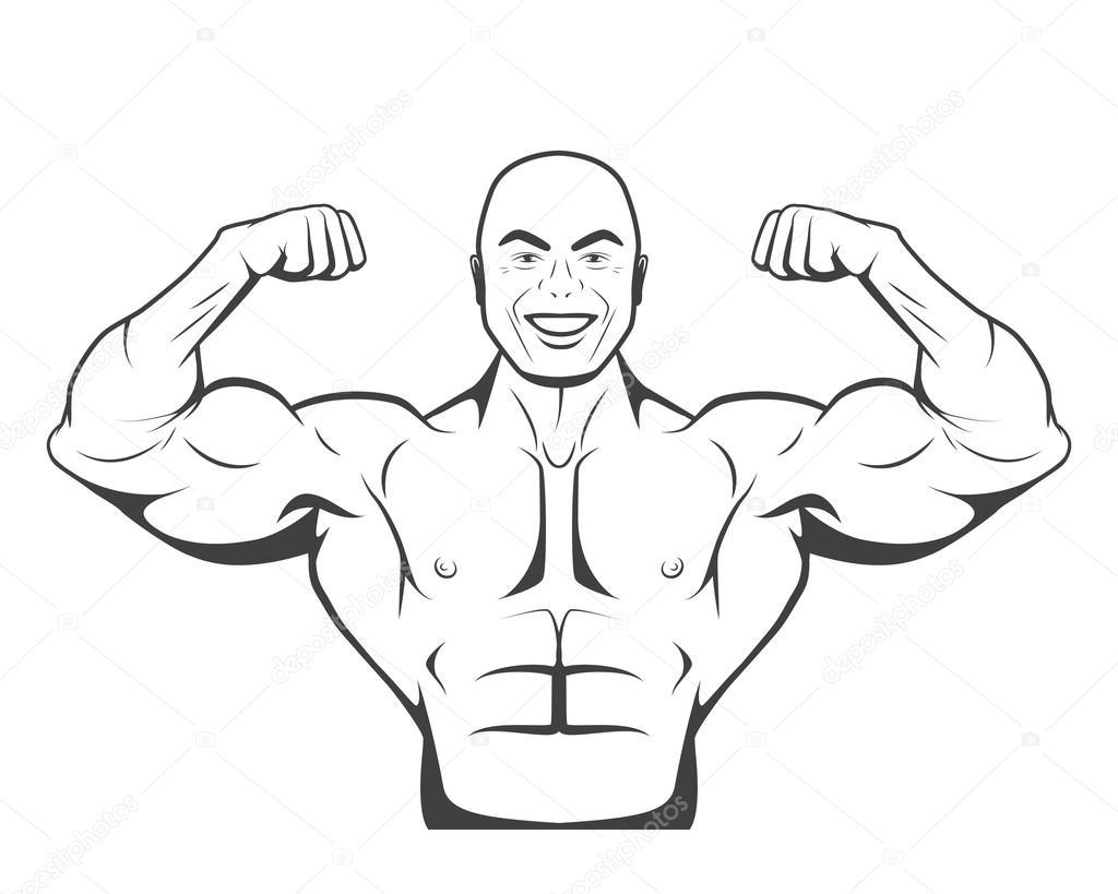 starke Bodybuilder Mann mit perfekten abs, Schultern, Bizeps ...