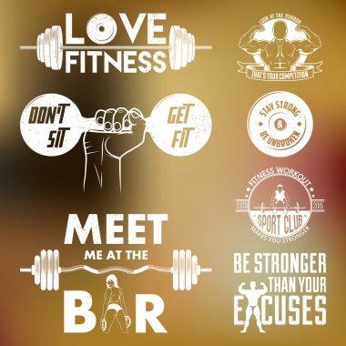 Fitness vector set. Vintage elements and labels.