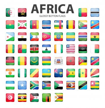 Glossy button flags - Africa. Original colors.