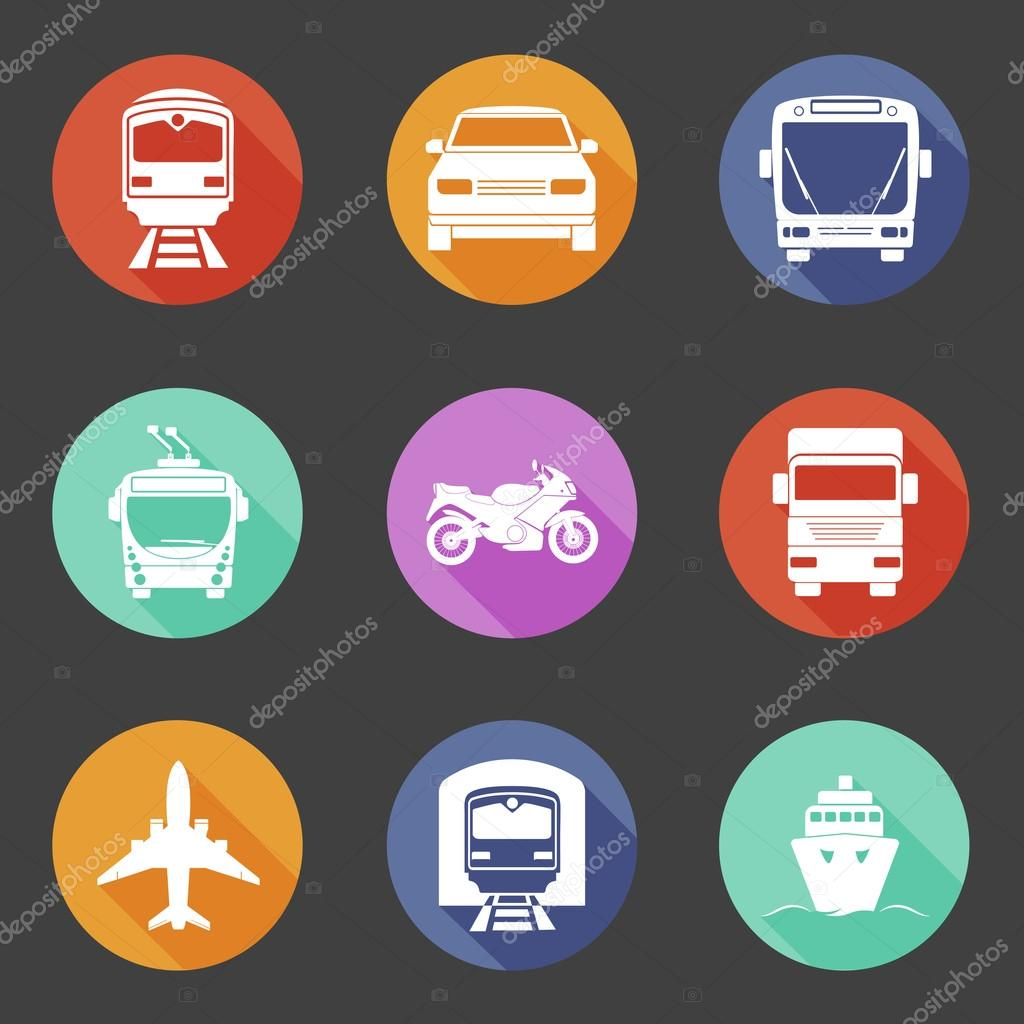 Simple flat transport icons set with long shadows.