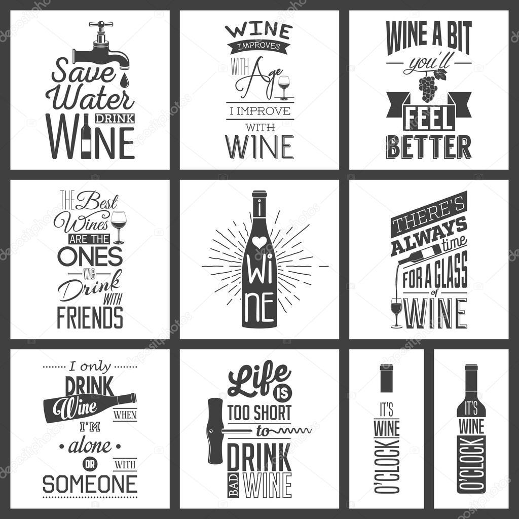 Satz von Jahrgang Wein typografische Anführungszeichen — Stockvektor ...