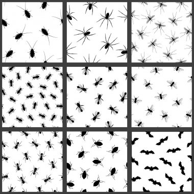 Pest and insect seamless pattern set