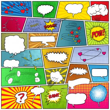 Abstract set of comic templates