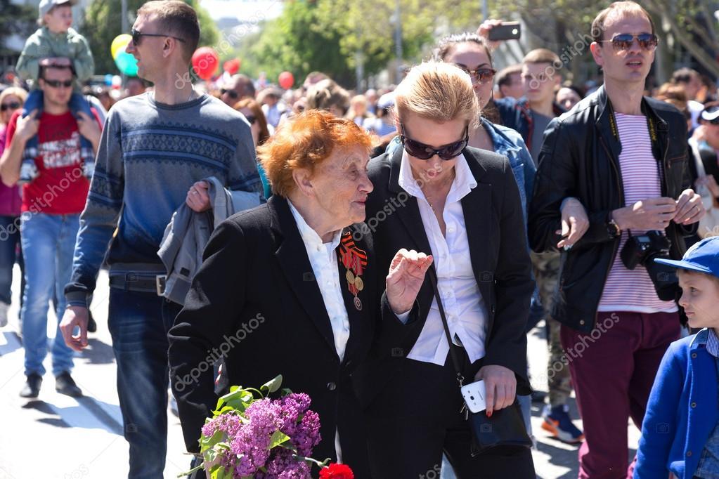 SEVASTOPOL, CRIMEA - MAY 9, 2015: Veterans at the parade