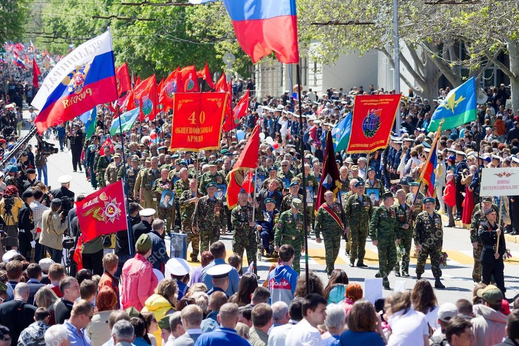 SEVASTOPOL, CRIMEA - MAY 9, 2015: Veterans at the parade in hono