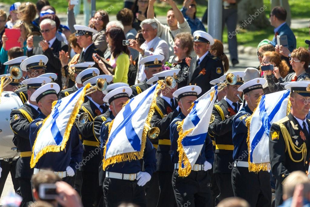 SEVASTOPOL, CRIMEA - MAY 9, 2015: Parade in honor of the 70th anniversary of Victory Day on 9 May 2015, Sevastopol