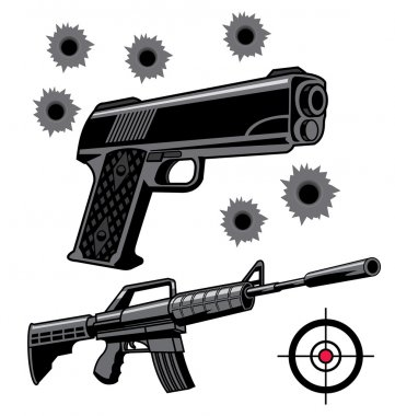 Various firearms weapons and graphics stock vector