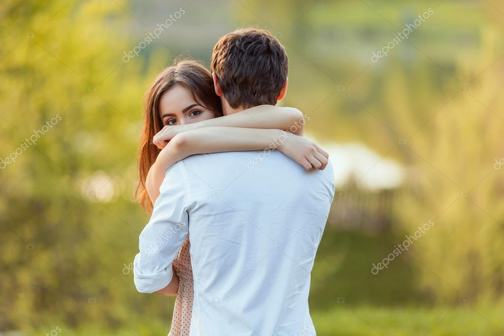 Beautiful young couple in love outdoors