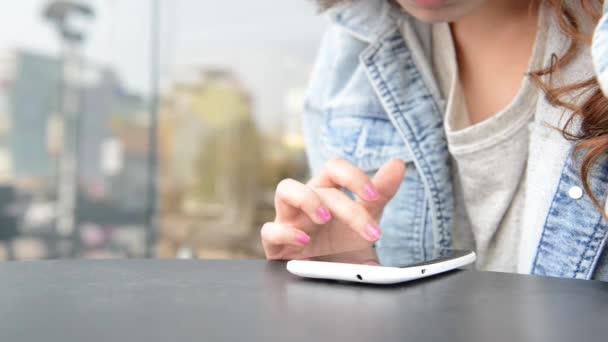 closeup finger touching tablet computer touchscreen