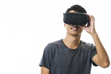 man using the virtual reality headset