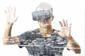 Dvojitá expozice člověka pomocí virtuální reality sluchátka