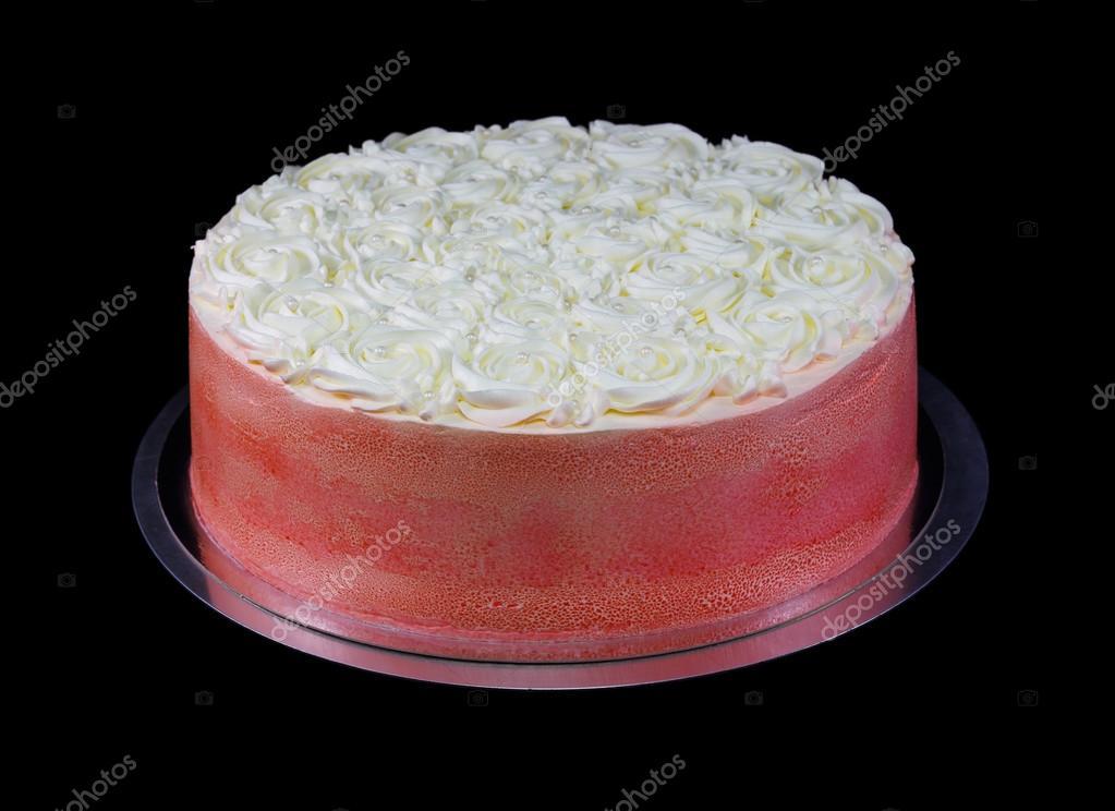 Eine Rote Kuchen Mit Buttercreme Glasur Und Perlen Verziert