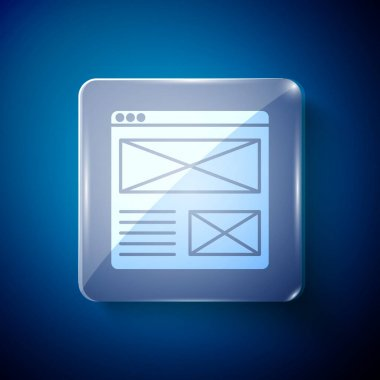 White Browser window icon isolated on blue background. Square glass panels. Vector. icon