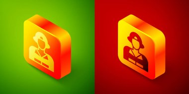 Isometric Firefighter icon isolated on green and red background. Square button. Vector. icon