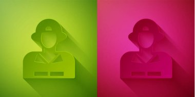 Paper cut Firefighter icon isolated on green and pink background. Paper art style. Vector. icon