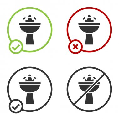 Black Washbasin with water tap icon isolated on white background. Circle button. Vector. icon