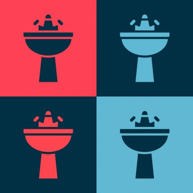 Pop art Washbasin with water tap icon isolated on color background.  Vector. icon