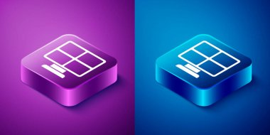Isometric Solar energy panel icon isolated on blue and purple background. Square button. Vector. icon