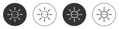 Black Solar energy panel icon isolated on white background. Sun with lightning symbol. Circle button. Vector. icon