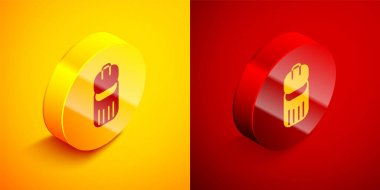 Isometric Trash can icon isolated on orange and red background. Garbage bin sign. Recycle basket icon. Office trash icon. Circle button. Vector. icon