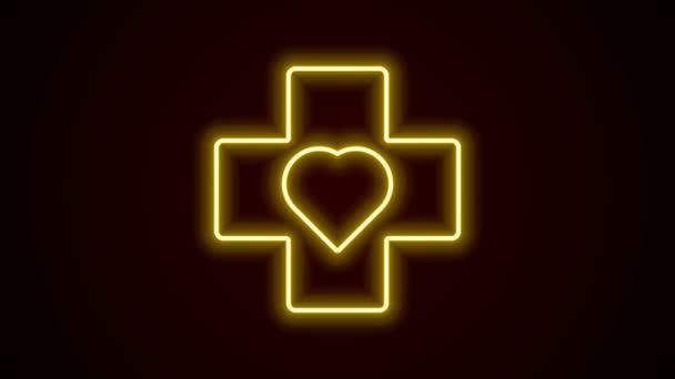 Zářící neonová čára Srdce s křížovou ikonou izolovanou na černém pozadí. První pomoc. Zdravotní, lékařská a farmaceutická značka. Grafická animace pohybu videa 4K