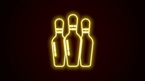 Žhnoucí neon linka Bowling pin ikona izolované na černém pozadí. Grafická animace pohybu videa 4K