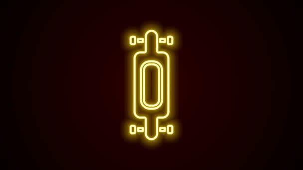 Glowing neon line Longboard or skateboard cruiser icon isolated on black background. Extreme sport. Sport equipment. 4K Video motion graphic animation