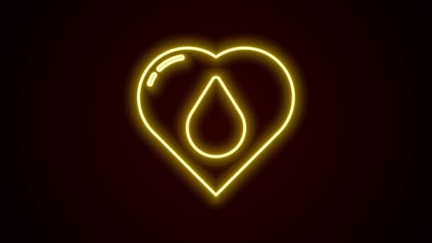 Leuchtende Leuchtschrift Herz mit Wassertropfen-Symbol isoliert auf schwarzem Hintergrund. 4K Video Motion Grafik Animation