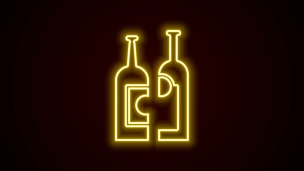 Glowing neon line Bottles of wine icon isolated on black background. 4K Video motion graphic animation