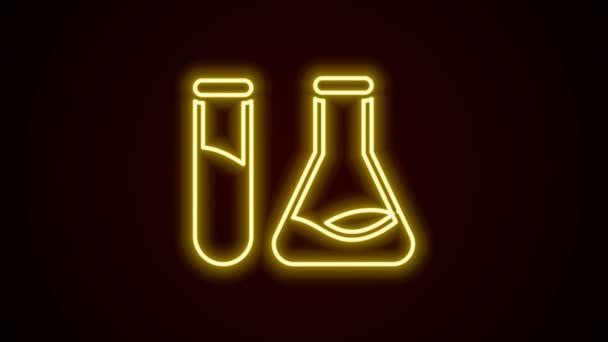 Leuchtende Neon-Linie Reagenzglas und Kolben - Symbol für chemische Labortests isoliert auf schwarzem Hintergrund. Laborgläser. 4K Video Motion Grafik Animation
